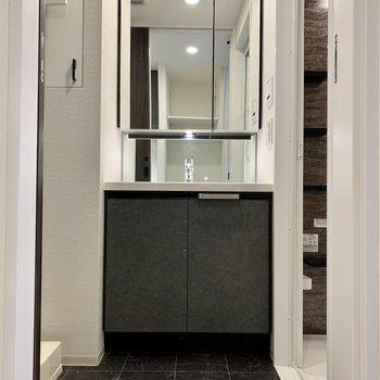 スタイリッシュな独立洗面台!毎日鏡を見るのが楽しくなりそう。