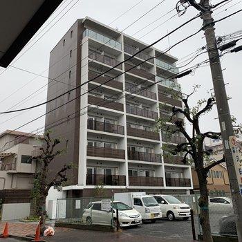 大通りから少し歩くと見えてくる8階建てのマンション。