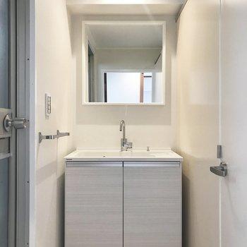 シンプルな洗面台です。両側にとびらがありますね。