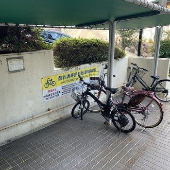 自転車置場はアプローチに。屋根付きです。