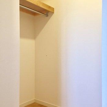 【洋室】ハンガーをかけても、下にボックスを置いても大丈夫です。