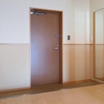 玄関は横に長いタイプ。