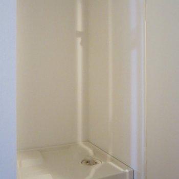 洗濯機置き場は扉で隠せるようになっています