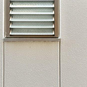 横の窓からはお隣さんの壁