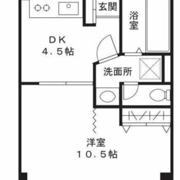洋室が広めの1DKタイプです。