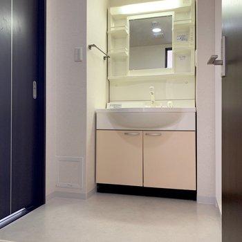 脱衣所とっても広々でした!洗濯機はこちらに。 右手には、収納棚もありました。※写真は1階の同間取り別部屋のものです