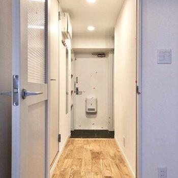 廊下にもヤマグリの無垢床が広がります。