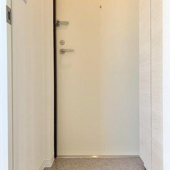 玄関はこぢんまり※写真は3階の同間取り別部屋のものです