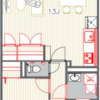 寝室は完全に分離可能な1LDK間取り!