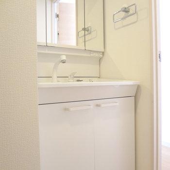 洗面台は鏡が大きくて、朝の準備がしやすそう。(※写真は5階の同間取り別部屋のものです)