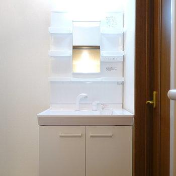 手前に洗面台。なんと新品(!)なので気持ち良く使えますね!