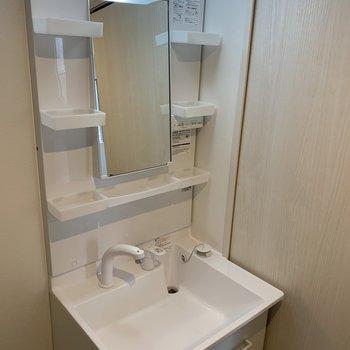 洗面台は独立タイプで収納豊富