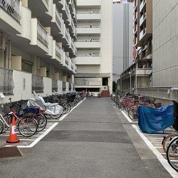 共用部】駐輪場で今空いてるのは、この外置き区画のみ