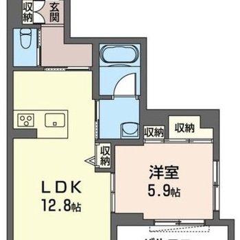1LDKの南向きのお部屋です。
