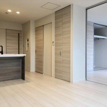 【LDK】手前のドアは収納スペースです。