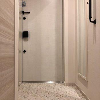 コンパクトな玄関ですが床はフラットで広く見えます。