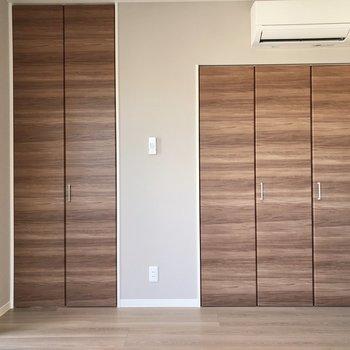 【洋室】この扉は、どちらも収納スペースになっていますよ。