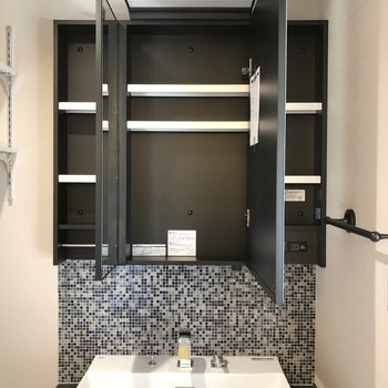 洗面グッズはすべて鏡裏に置けそうです。