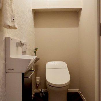 手洗い場付きのタンクレストイレです。