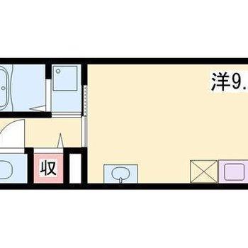 キッチンがお部屋の中にあるワンルームタイプ