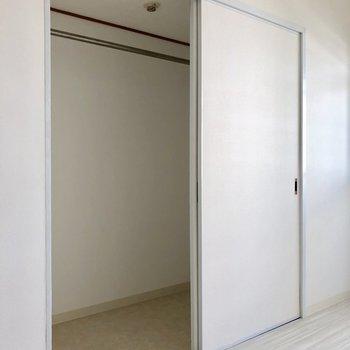 収納は大きめ。棚など置いて整理しやすいようにね。