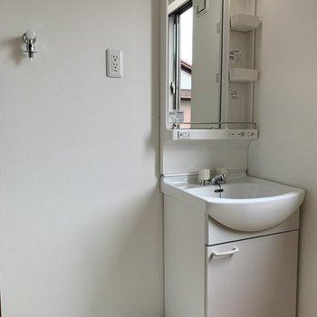 居室の端に独立洗面台と洗濯機置場があります