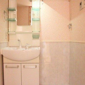 小物が置ける収納棚付き洗面台(通電前です)※写真は4階の反転間取り別部屋のものです