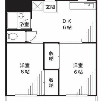 それぞれのスペースは約6帖。二人暮らししやすそう。※間取り図は反転間取りのものです