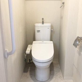 トイレには手すりが。ふと掴んでしまいます。