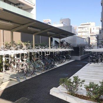建物裏側には広い自転車置き場があります。