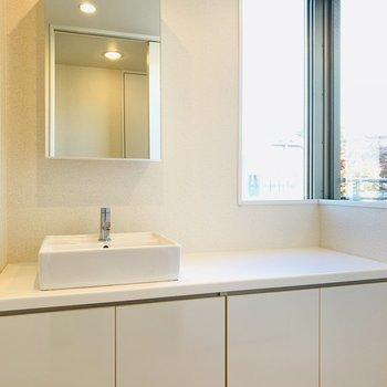 何と言っても魅力的な洗面所。ここで毎朝支度できるなんて、羨ましい...