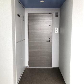 ボックスのようで不思議な玄関。※写真は4階の同間取り別部屋のものです