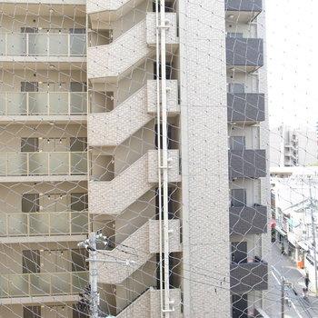 左を向いたらマンションです。鳥避けネットもしっかりと。