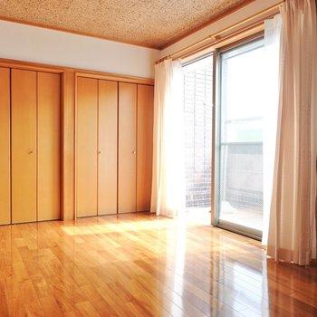 【洋11.4】壁一面がクローゼットの洋室。