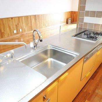 この広さならどんな料理も手際良くできそう。食洗機も設置済み。