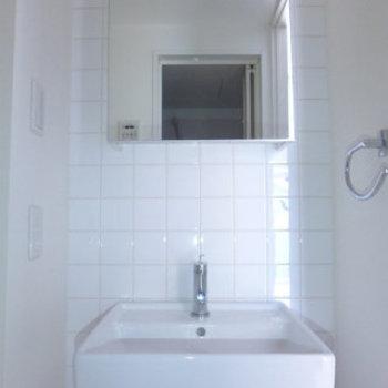 洗面台はコンパクト。収納はご自分で!(※写真は同間取り別室のものです)
