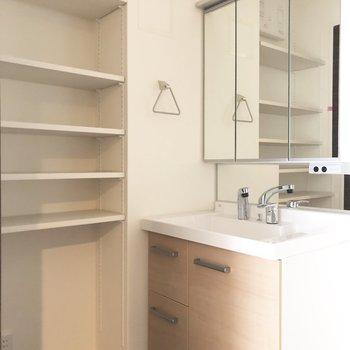 可動式の棚に加え、洗面台の鏡にも収納スペースがあります◎※写真は前回募集時のものです