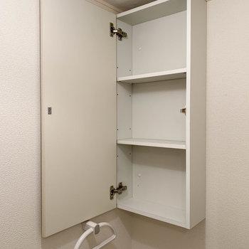 トイレの上部には収納も付いています。