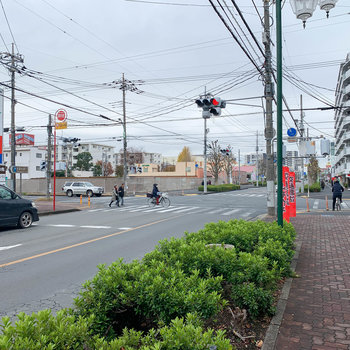 駅までは大通りを進みます。道中にはお店がたくさん。