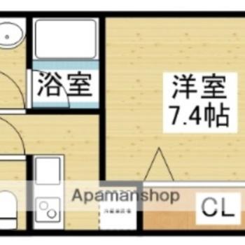 正方形の洋室がある1K。