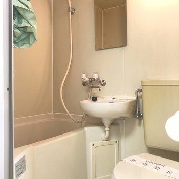 シャワーカーテンを使い水跳ね防止をしたいですね。