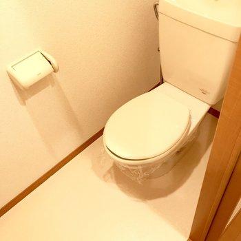 トイレはシンプルに。温水洗浄便座はついていません。