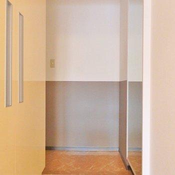 玄関前には大きな姿見!(※写真は5階の反転間取り別部屋のものです)