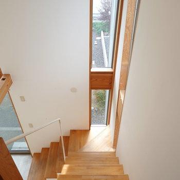 階段を降りて再び1階へ。 ここにも窓があり、明るい雰囲気。 (※写真はクリーニング前のものです。)