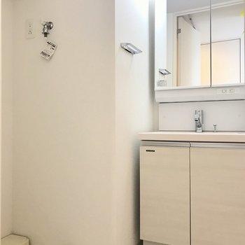 洗面脱衣所です。洗面台の右手にお風呂。