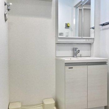 洗面脱衣所もコンパクト。でも収納スペースはあります。