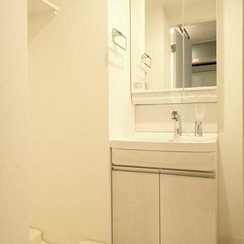 洗面台も白くて美しい…洗濯機は横ですよ〜