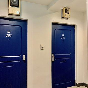 共用部もきれいです。ブルーのドアが爽やか〜。