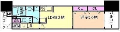 ラシュレ大阪同心 1103号室 の間取り