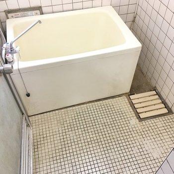 奥にはちょっぴりレトロなお風呂。(※写真は清掃前のものです)